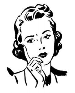 clipart pensive woman