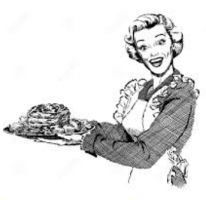 retro clipart woman with cake
