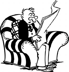 man reading retro clipart