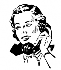 retro woman on phone clipart