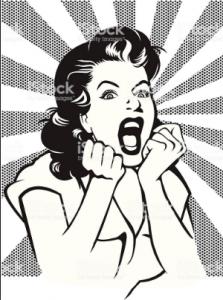 woman screaming retro clipart