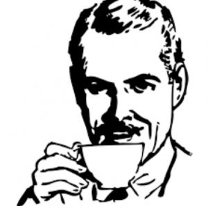 man with tea retro
