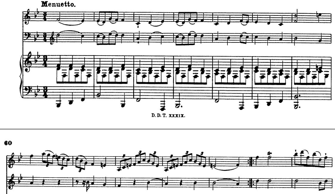 Schobert minuetto score