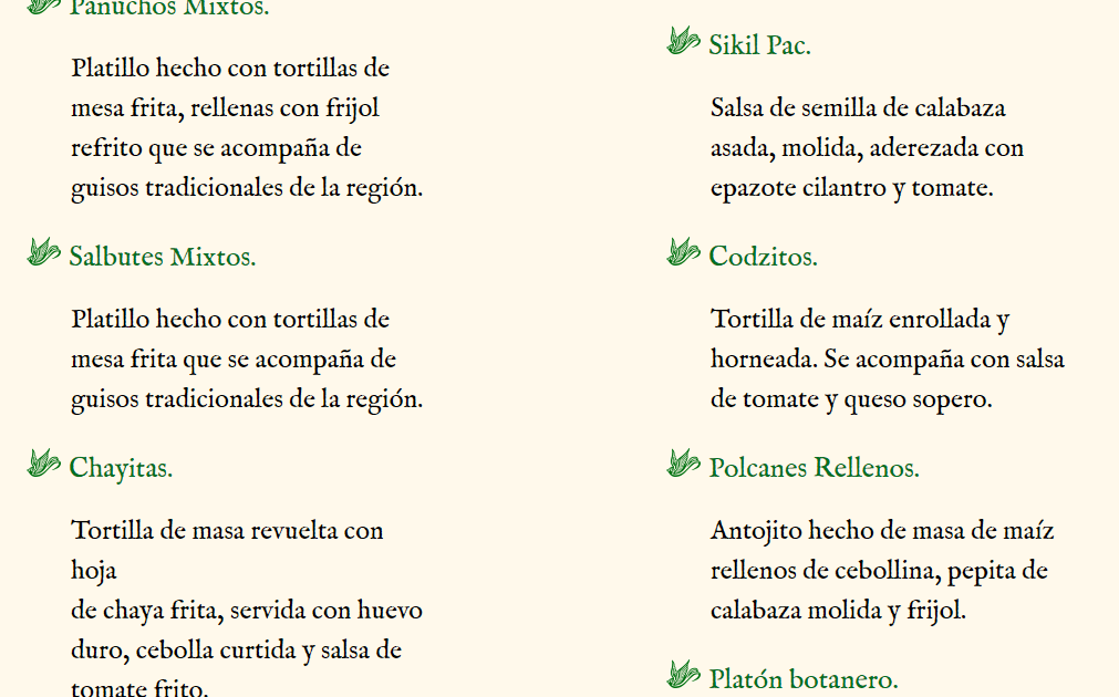 Cenote de San Ignacio menu