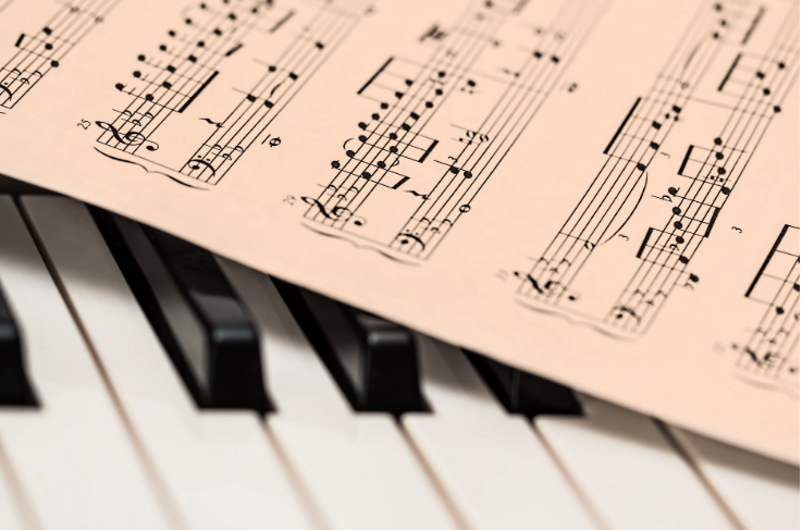 keyboard and music sheet