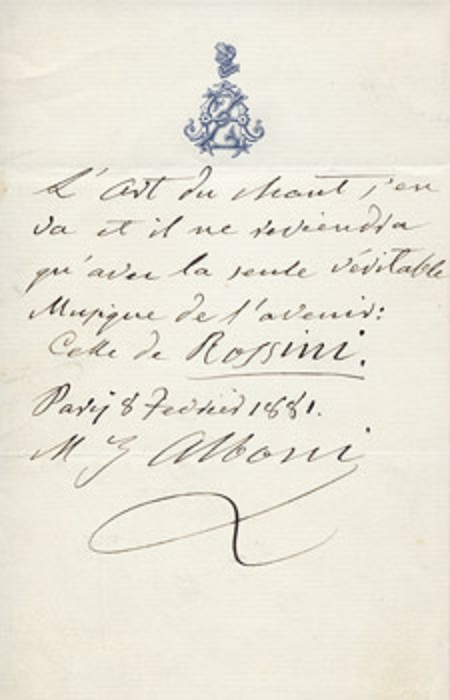 Alboni letter on bel canto